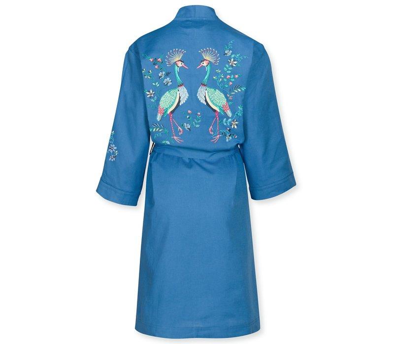 Kimono Naomi Flirting Birds Embroidery Blue