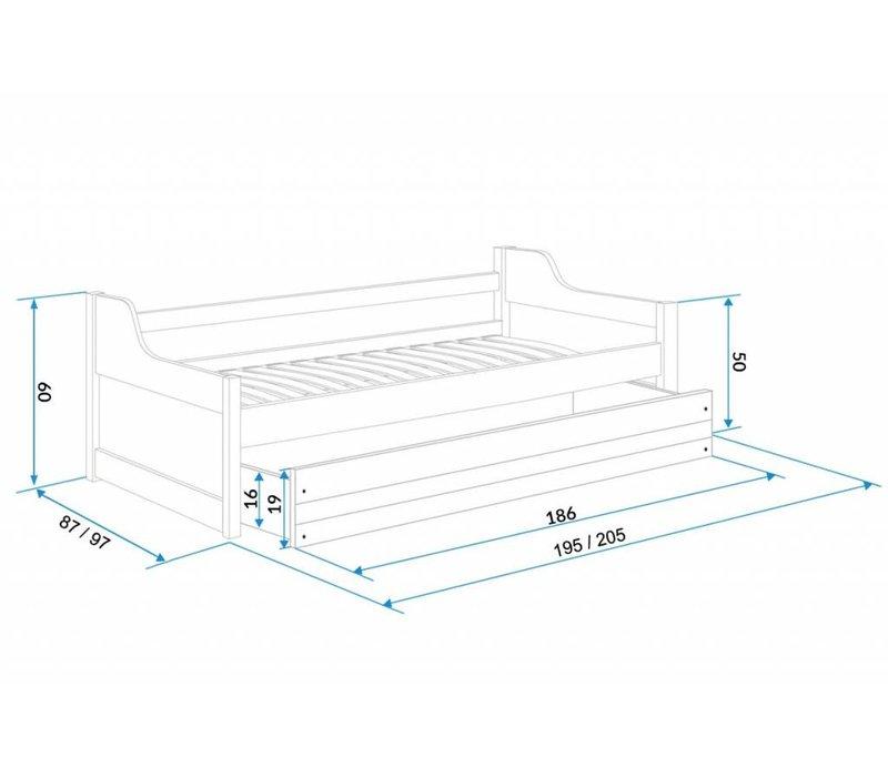 Slaapbank Daniel 5-grafiet, incl. bedlade met matras.