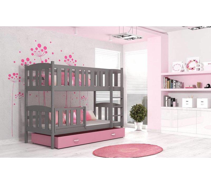 Stapelbed Kyan - grijs-roze