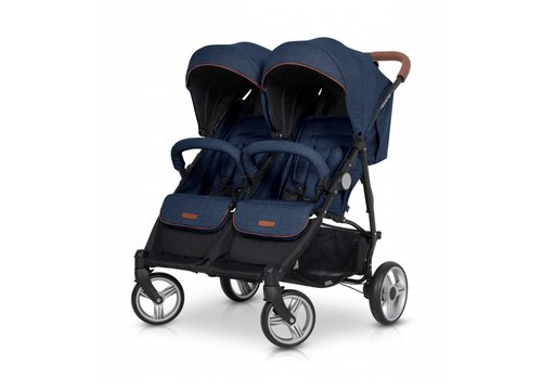 Tweeling wandelwagen - buggy Domino - denim