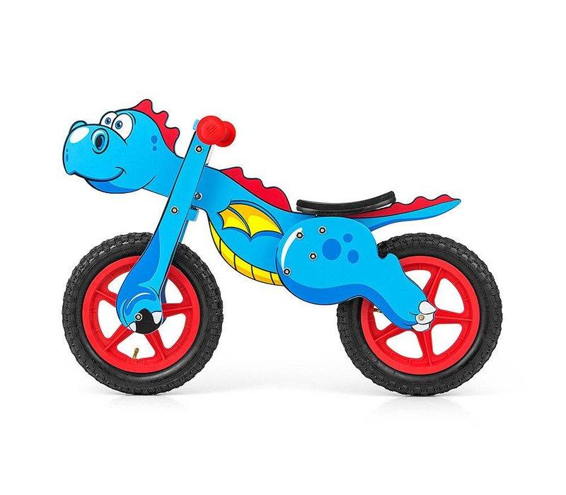 Houten loopfiets Dinosaurus blauw