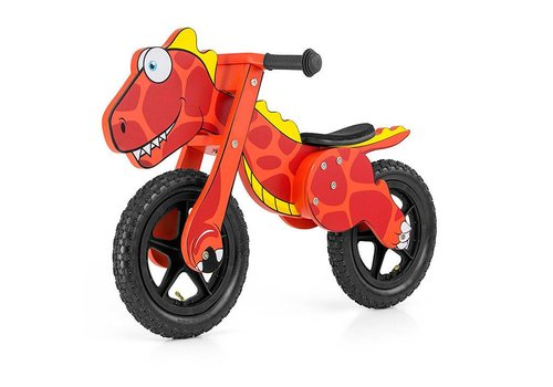Houten loopfiets Dinosaurus rood