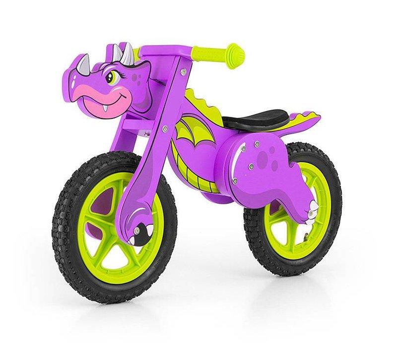 Houten loopfiets Dinosaurus violet