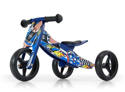 Houten driewieler loopfiets Jake blauw