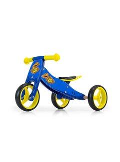Houten driewieler loopfiets Jake cowboy blauw