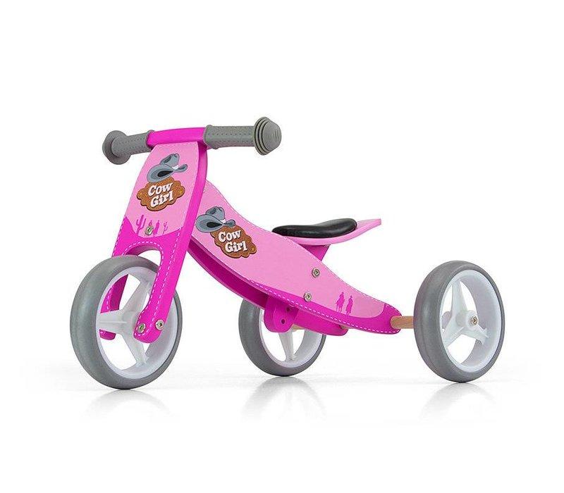 Houten driewieler loopfiets Jake cowgirl roze