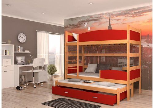 3-Persoons stapelbed Tina3 - els-rood