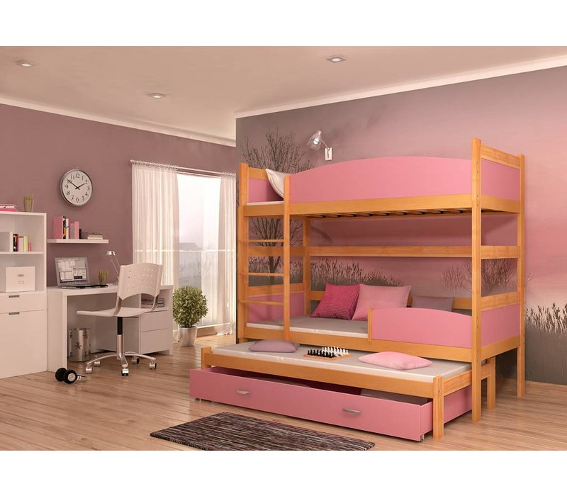 3-Persoons stapelbed Tina3 - els-roze