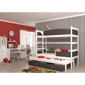 3-Persoons stapelbed Tina3 - wit-grafiet