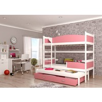 3-Persoons stapelbed Tina3 - wit-roze