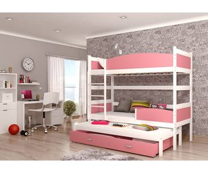 3 Pers Stapelbed.3 Persoons Stapelbed Tina3 Wit Roze Baby En Kinderwereld