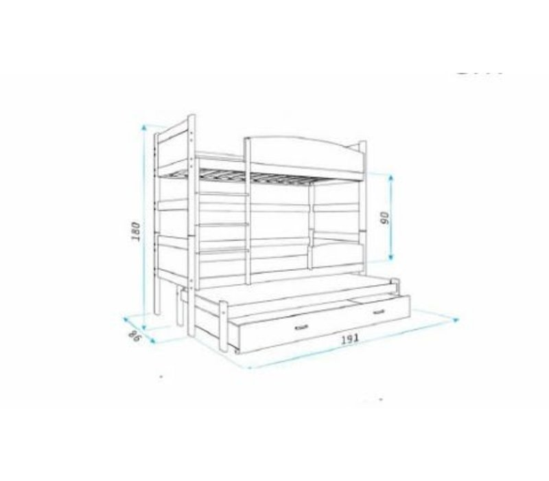 3-Persoons stapelbed Tina3 - wit-wit