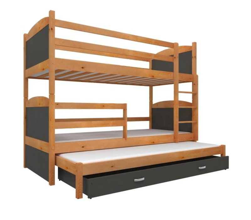 3 Persoons Stapelbed Hout.3 Persoons Stapelbed Michael3 Els Grijs