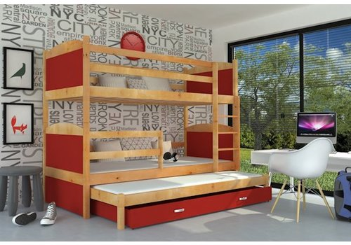 3-Persoons stapelbed Michael3 - els-rood