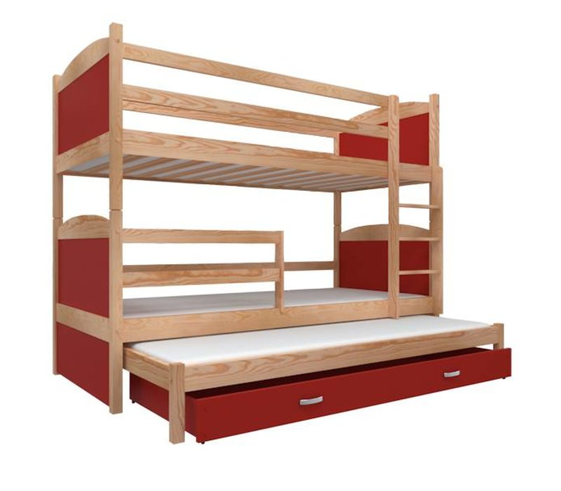 3-Persoons stapelbed Michael3 - pine-rood