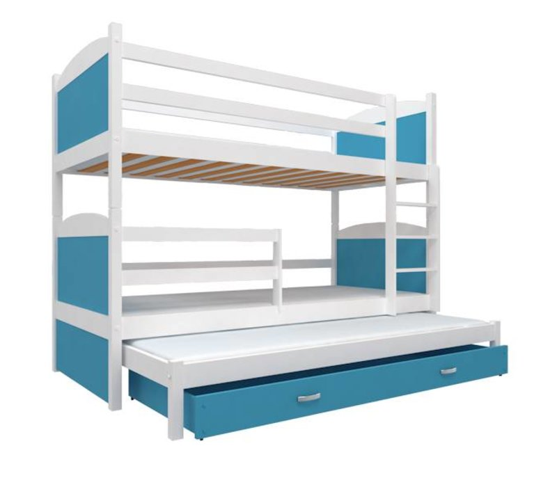 3 Persoons Stapelbed Hout.3 Persoons Stapelbed Michael3 Wit Blauw