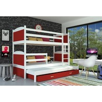 3-Persoons stapelbed Michael3 - wit-rood
