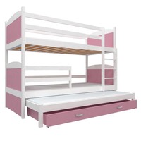 3-Persoons stapelbed Michael3 - wit-roze