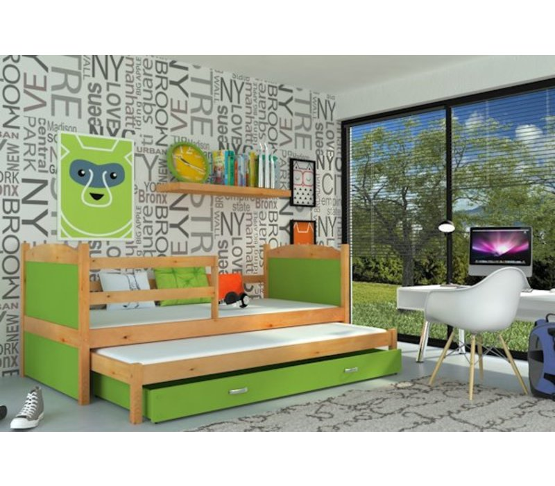 Kinderbed + uitschuifbed Michael2 - els-groen