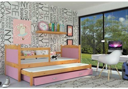 Kinderbed + uitschuifbed Michael2 - els-roze