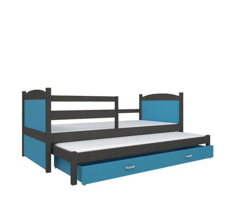 Kinderbed + uitschuifbed Michael2 - grijs-blauw