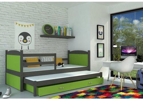 Kinderbed + uitschuifbed Michael2 - grijs-groen