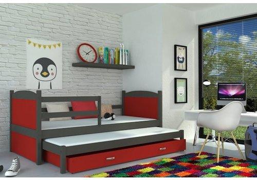 Kinderbed + uitschuifbed Michael2 - grijs-rood