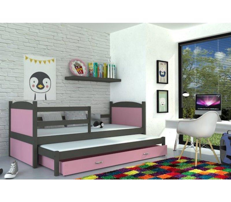 Kinderbed + uitschuifbed Michael2 - grijs-roze