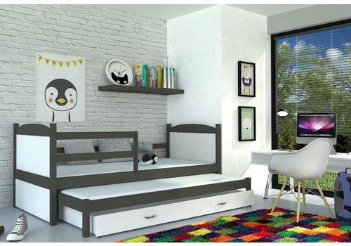 Kinderbed + uitschuifbed Michael2 - grijs-wit