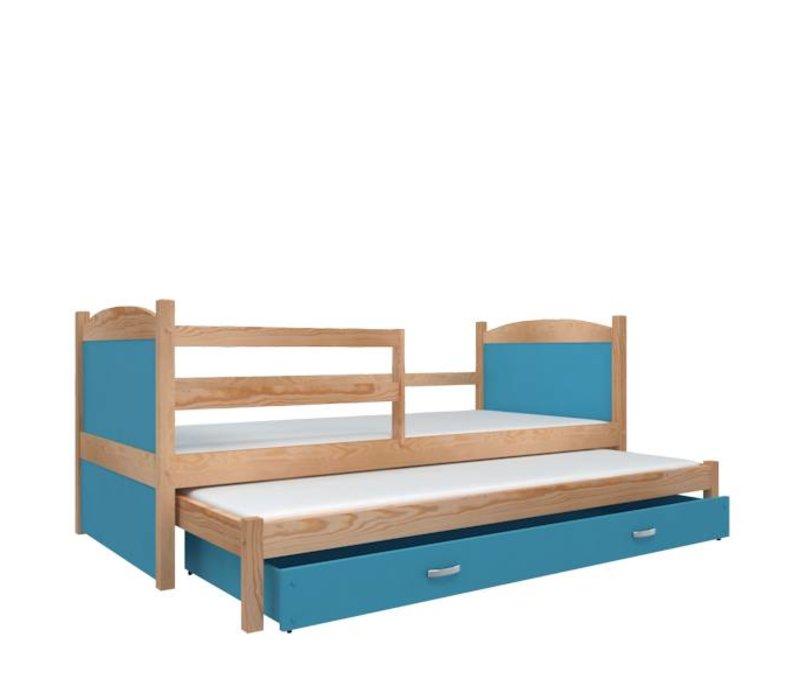 Kinderbed + uitschuifbed Michael2 - pine-blauw