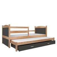 Kinderbed + uitschuifbed Michael2 - pine-grijs