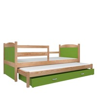 Kinderbed + uitschuifbed Michael2 - pine-groen