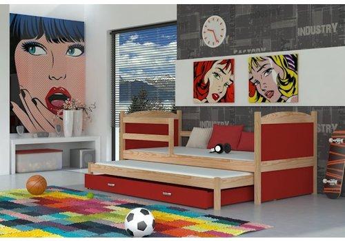 Kinderbed + uitschuifbed Michael2 - pine-rood