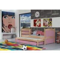 Kinderbed + uitschuifbed Michael2 - pine-roze