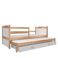 Kinderbed + uitschuifbed Michael2 - pine-wit