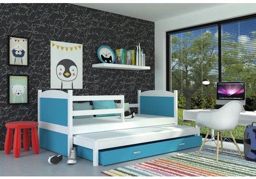 Kinderbed + uitschuifbed Michael2 - wit-blauw