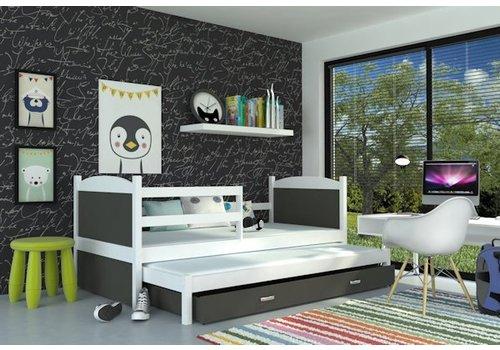 Kinderbed + uitschuifbed Michael2 - wit-grijs