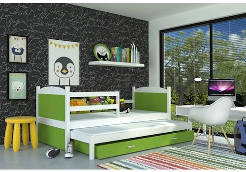 Kinderbed + uitschuifbed Michael2 - wit-groen