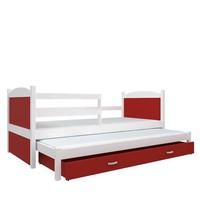 Kinderbed + uitschuifbed Michael2 - wit-rood