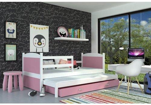 Kinderbed + uitschuifbed Michael2 - wit-roze
