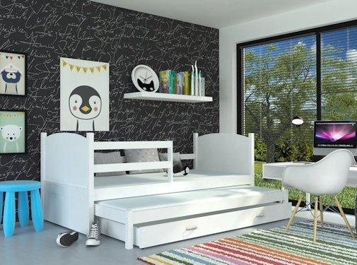 Kinderbed + uitschuifbed Michael2 - wit