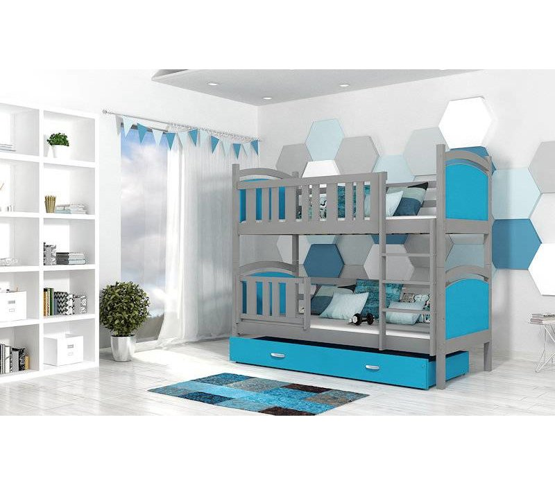 Stapelbed Tamara - grijs-blauw