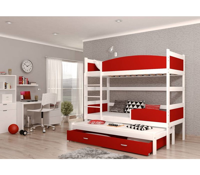 3-Persoons stapelbed Tina3 - wit-rood