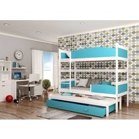 3-Persoons stapelbed Tina3 - wit-blauw