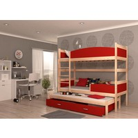 3-Persoons stapelbed Tina3 - pine-rood