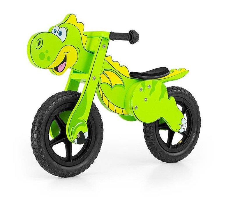 Houten loopfiets Dinosaurus groen