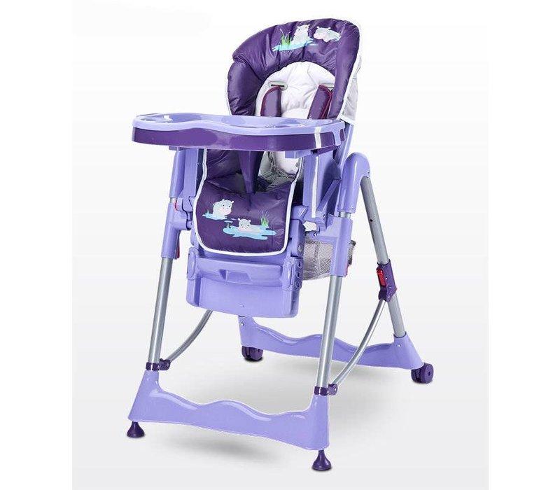 Kinderstoel Magnus Funny paars heeft een leuke vrolijke print