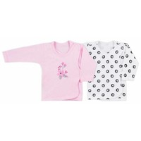 Baby overslag shirt - Love Birds - set van 2 stuks