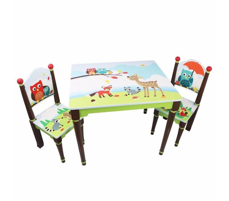 Houten kindertafel met 2 stoeltjes - Betoverend bos