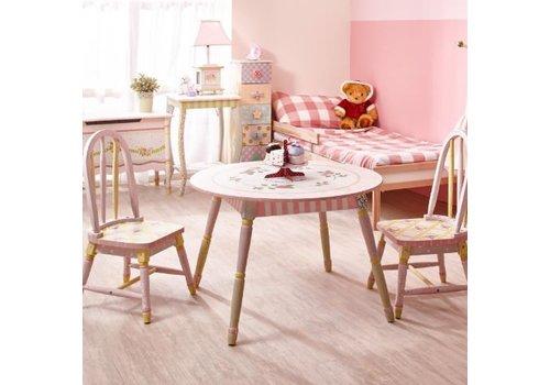 Houten kindertafel met 2 stoeltjes - Crackled Rose